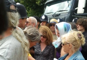 Balcombe residents protest against fracking in the village